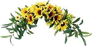 LIOOBO 1 Pc Sunflower Swag Door Hanging Wreath Simulation Hanging Ornament Floral Swag Door Swag for Wedding Wall Door Decoration