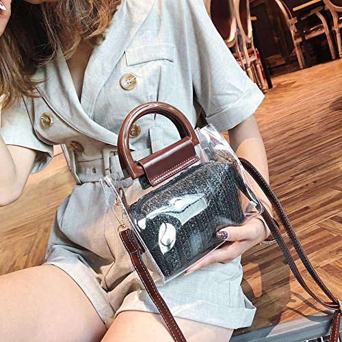 3 Messenger Shoulder Aediea PVC Women Bags Beach Handbags Straw Mini Summer Clear w1aqPzfKw