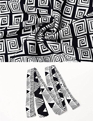 Donkap Des Femmes De Bohème Manches 3/4 Taille Imprimé Floral Ethnique Cravate Robe Chemise Noire 2