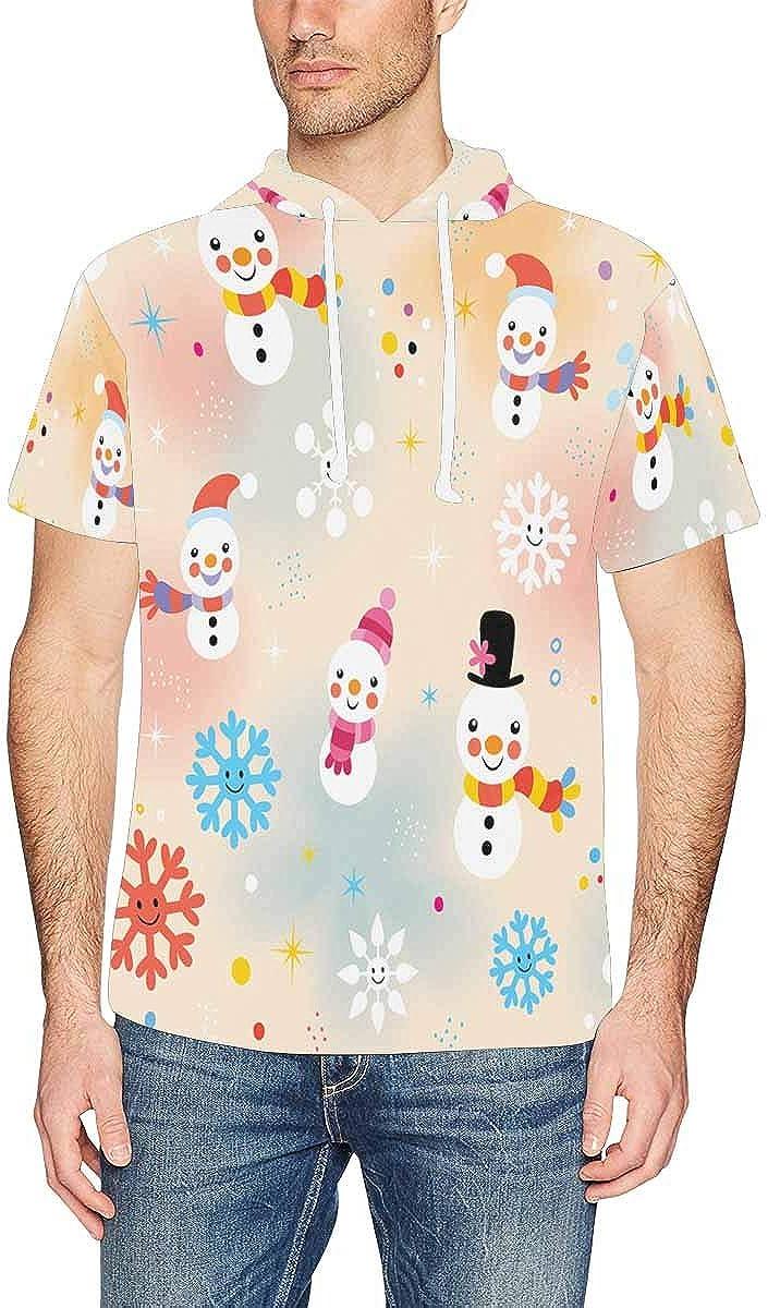 XS-2XL INTERESTPRINT Mens Hoodies Shirts Snowman Pattern Lightweight Short Sleeve Pullover Tops