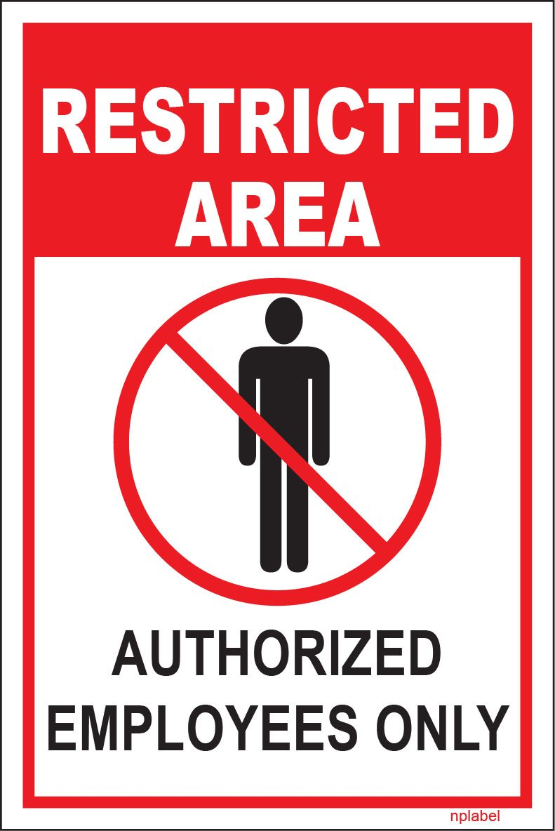 Restricted area sign label restricted area sign sticker aluminum 100x150mm self adhesive easy to stick label sticker amazon in amazon in