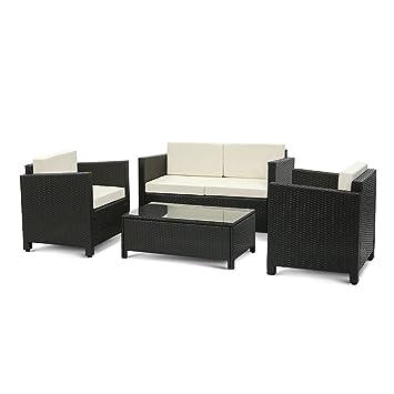 Rattan gartenmöbel grau  iKayaa 4er Rattan Lounge Set Polyrattan Gartenmöbel Set Grau+Beige ...