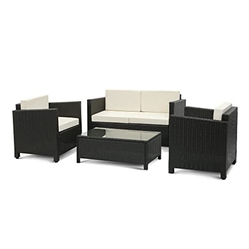 IKayaa 4er Rattan Lounge Set Polyrattan Gartenmöbel Set Grau+Beige