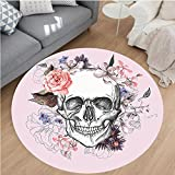 Nalahome Modern Flannel Microfiber Non-Slip Machine Washable Round Area Rug-nd Blooms Catholic Popular Ceremony Celebrating Artistic Vintage Design Soft Salmon White area rugs Home Decor-Round 75''