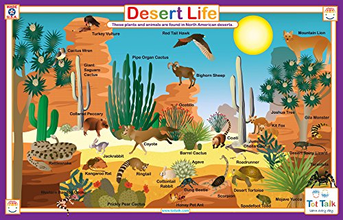 Desert Miniatures - Tot Talk Desert Life Educational Placemat for Kids, Washable and Long-Lasting