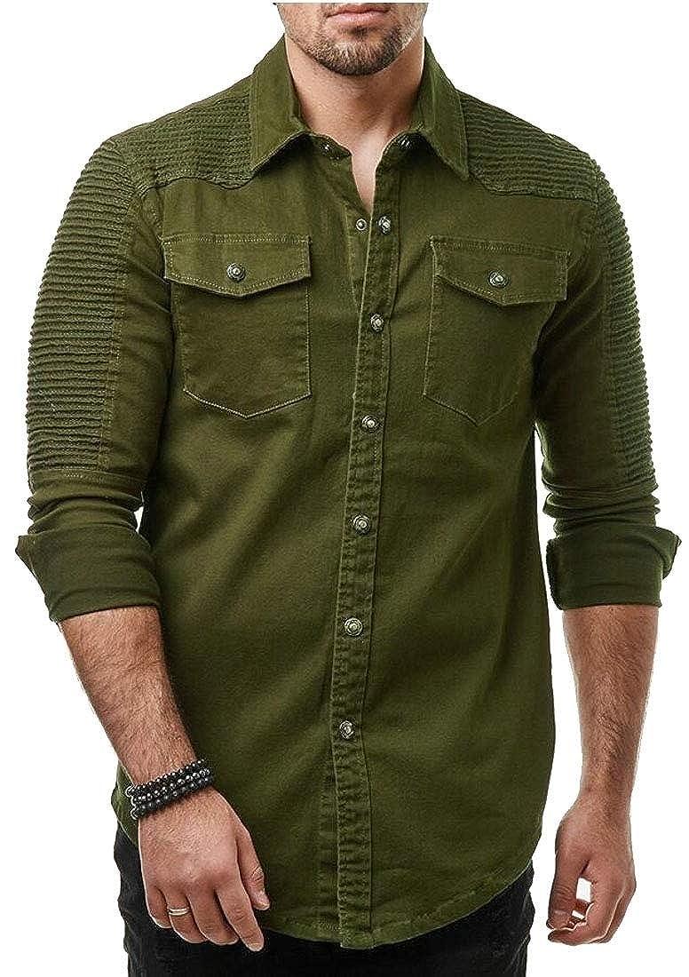 xiaohuoban Men Button Down Shirt Pleated Two Pocket Long Sleeve Shirt