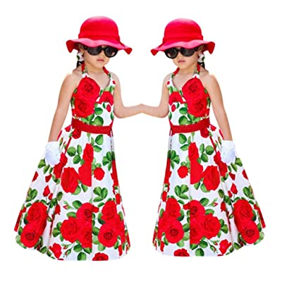 Toddler Kids Baby Girls Princess Flowers Halter Dress Long Sundress Clothes