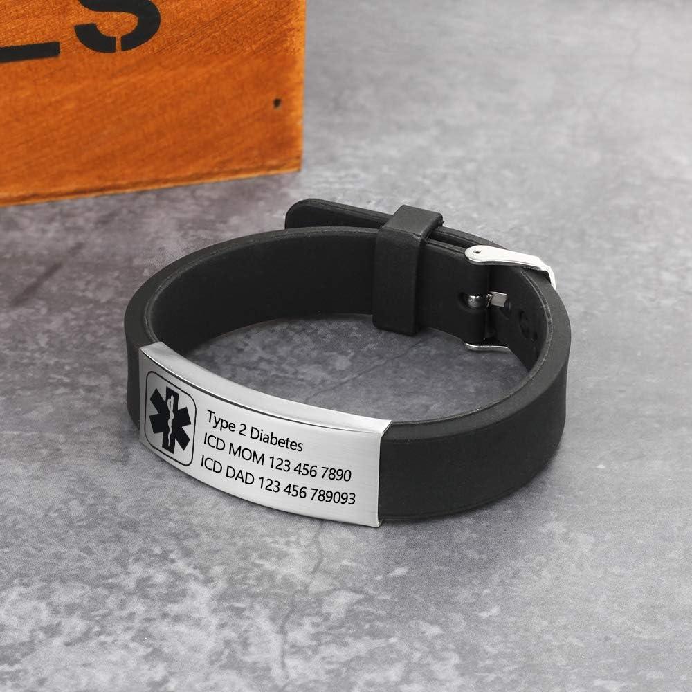 Personalized Silicone Adjustable Medical Alert Bracelets Waterproof Sport Emergency ID Bracelets for Men Women