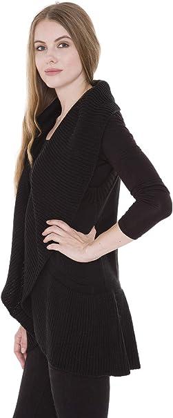 Janice Apparel Womens Winter Warm Fashion Open Front Ruana Knit Vest Wide Ruffled Trim Poncho Sweater JP1303