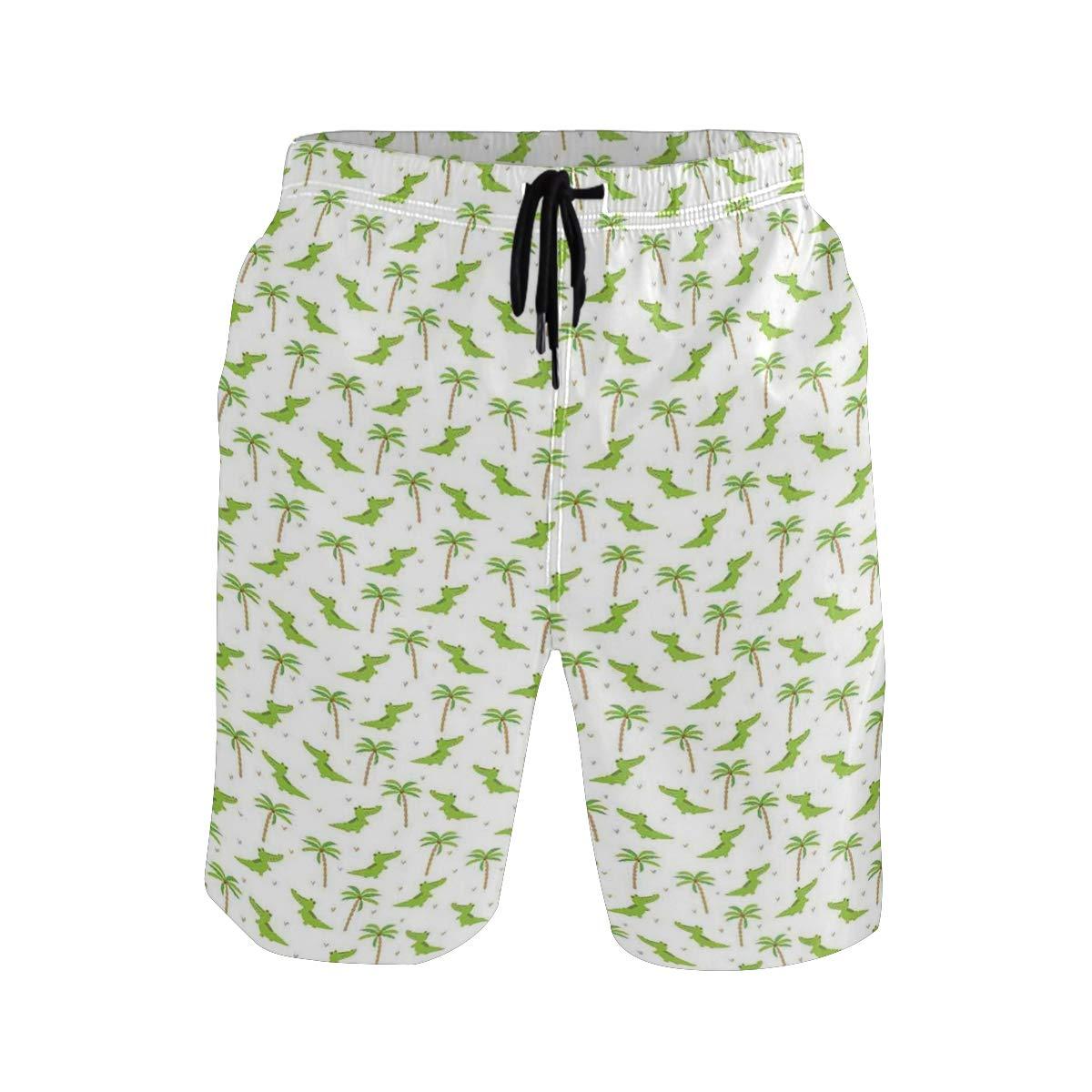 COVASA Mens Summer ShortsCartoon Crocodiles with Tropic Palm Trees Nursery Des
