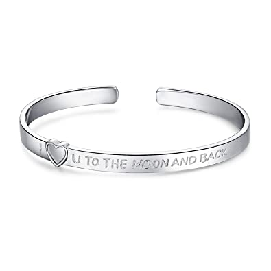 d6292bd4677 JewerlyPalace I Love You To The Moon And Back 925 Sterling Silver Cuff  Bangle Bracelet: Amazon.co.uk: Jewellery