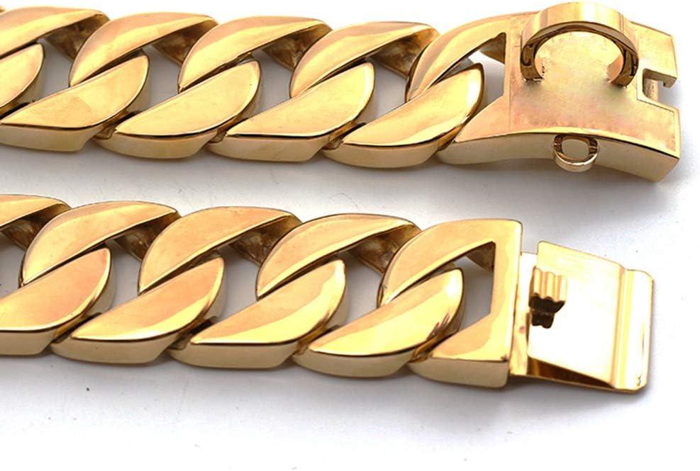 DUPFY 32MM Hip Hop Gold Ton Edelstahl 316L Dog Choke Kette Halsband Pets Personalisierte Cut Panzerkette Cuban Link Kette 10-30 Inch