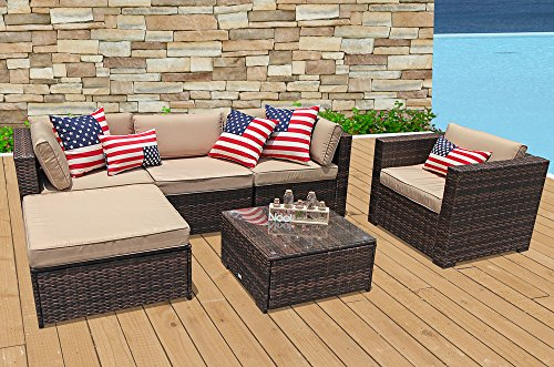 PATIOROMA Outdoor Furniture Sectional Sofa Set (6-Piece Set) All-Weather Brown Wicker with Beige Seat Cushions & Glass Coffee Table & Single Sofa Chair| Patio, Backyard, Pool|Aluminum Frame For Sale