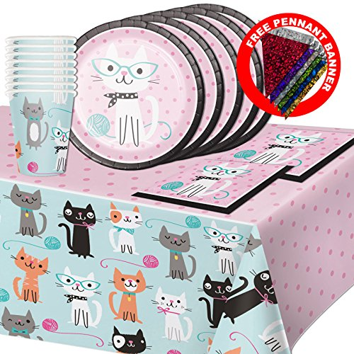 - Purr-fect Kitty Cat Childrens Birthday Party Tableware Pack Kit For 16
