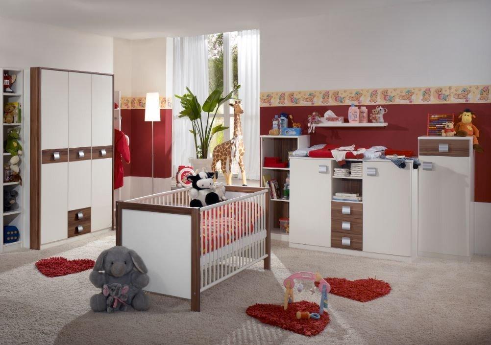 Dreams4Home Babyzimmer 'Biene II', Komplettzimmer, Babybett, Wickelkommode, Babyzimmer, Einlegeböden:ohne Einlegeböden