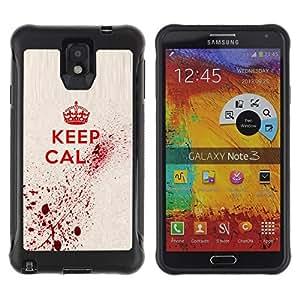 LASTONE PHONE CASE / Suave Silicona Caso Carcasa de Caucho Funda para Samsung Note 3 / Keep Blood Art Royal Quote Red King Queen
