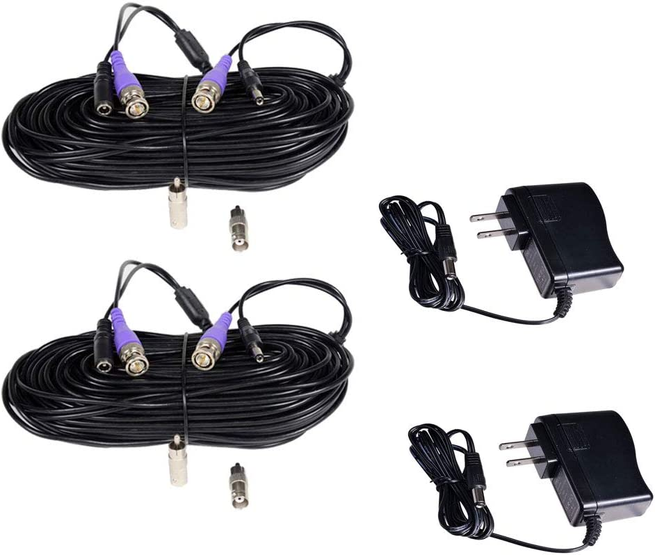 VideoSecu 2 Pack100ft HD Security Camera Video Power Cables Pre-Made All-in-One Extension Wire Cord with BNC RCA Connectors with 12V DC 500mA Power Supplies Kit for 720P 960P 960H CCTV System CGK