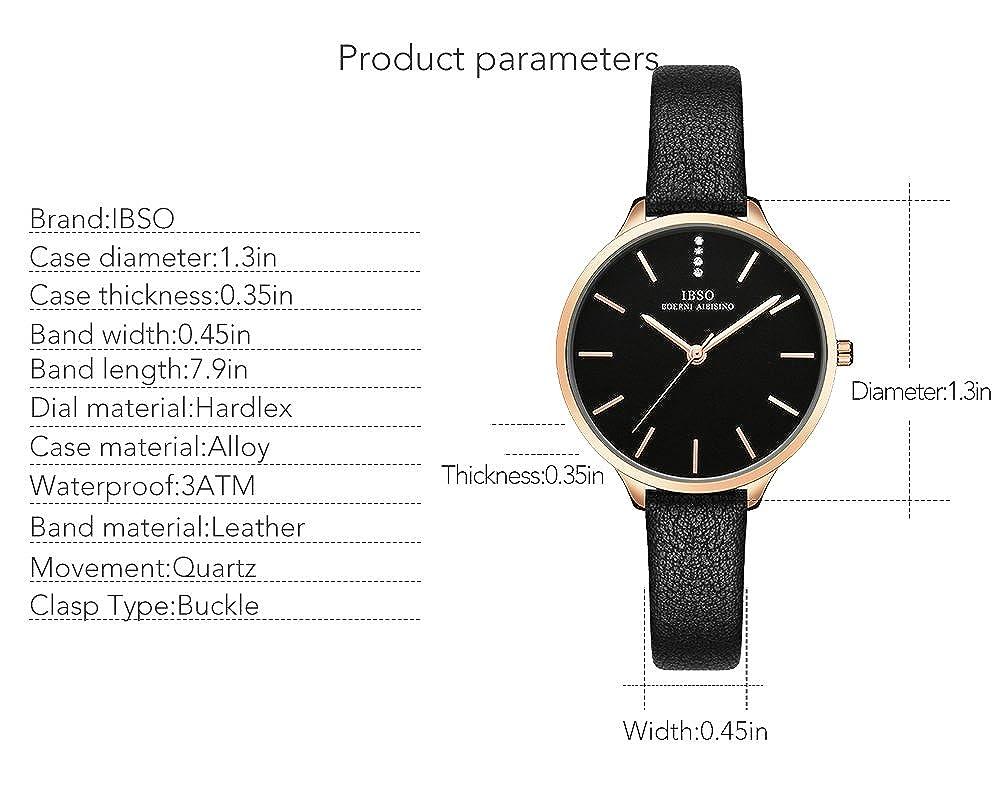 Amazon.com: IBSO Women Fashion Simple Watch Ultra-Thin Retro Quartz Analog Leather Strap Ladies Wristwatch (6603 Black): Watches