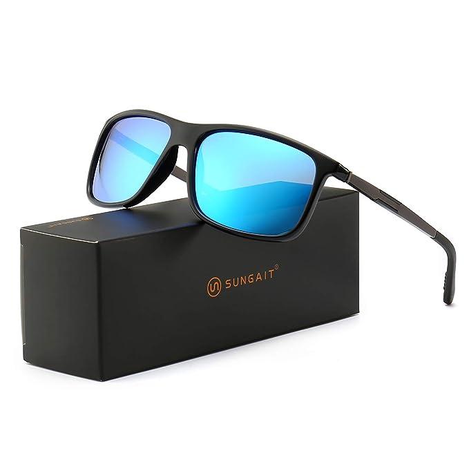 0f42dfc3af2 SUNGAIT Lightweight Polarized Sunglasses for Men Women UV400 (Black  Frame Blue Mirror Lens)