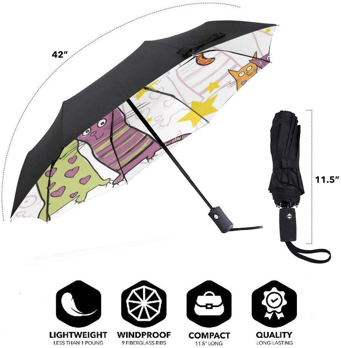 Sweety Cats Automatic Tri-Fold Umbrella Parasol Sun Umbrella Sunshade