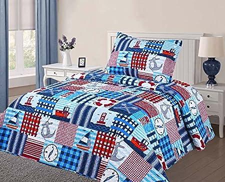Elegante casa multicolor Patchwork azul blanco rojo náutico ...