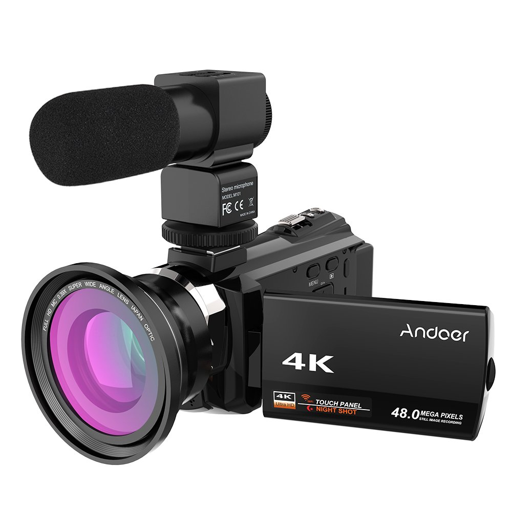 Video Camcorder, Andoer 4K Digital Video Camera 48MP 2880 x 2160 HD 3inch Touchscreen Handy Camera with IR Night Sight Support 16X Zoom 128GB Max Storage (Camera+Microphone+Wide Angle Lens)