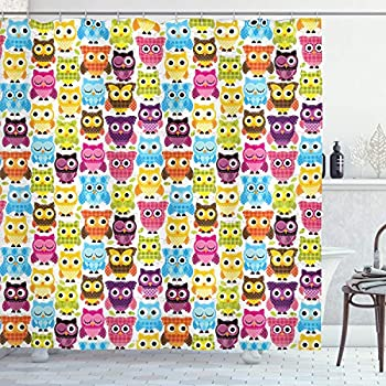 Ambesonne Owls Home Decor Collection, Owls with Different Expressions Winking Looking Sleeping Colorful Playful Image, Polyester Fabric Bathroom Shower Curtain Set with Hooks, Yellow Aqua Green