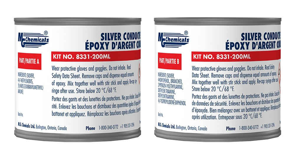 MG Chemicals Silver Epoxy Adhesive - High Conductivity, 10 min working time, 460 g, 2-Part Epoxy Kit