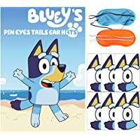 Pin the Eyes Tails Ear Hats on the Bluey Party Game - Sheepdog Bluey and Bingo Games for Kids Birthday Party Decorations…