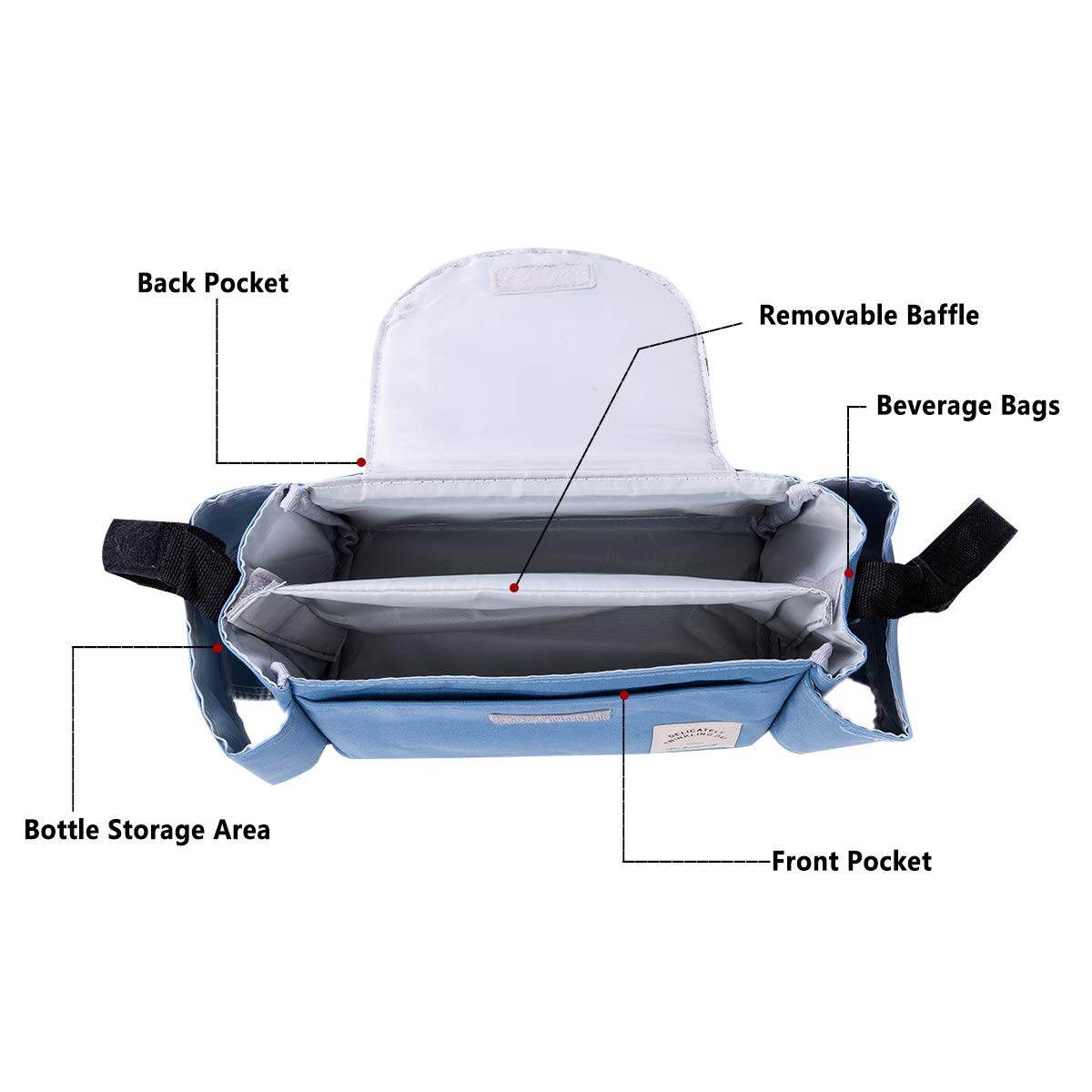 Blau Vawal Baby Kinderwagen Organizer mit Rei/ßverschluss Kinderwagen Zubeh/ör Tasche Buggy Organizer Kinderwagentasche Universal Alle Kinderwagen Tasche