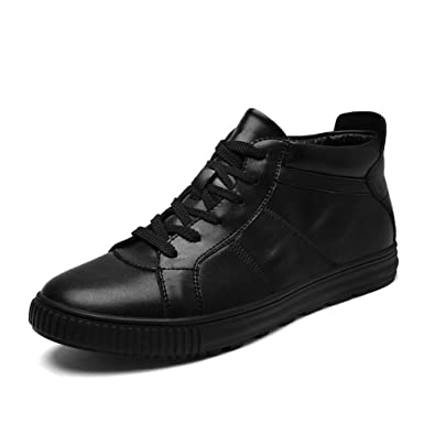 Shoes Mens Casual Shoes Leather Low-Top Sneakers Flat Loafers Deck Shoes Black (Color : Black Size : 42)