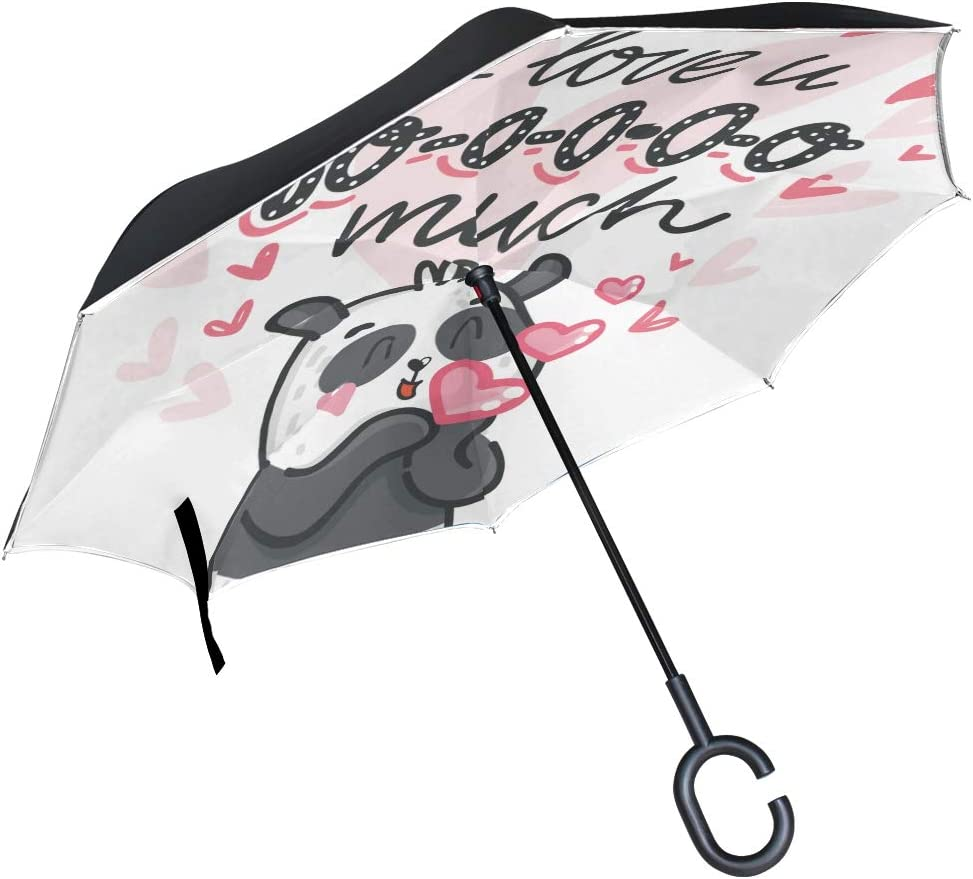 Lovely Cute Panda Bamboo Double Layer Inverted Umbrella for Women//Men//Kids UV Protection Waterproof Windproof Travel Car Rain Outdoor C-Shaped Handle