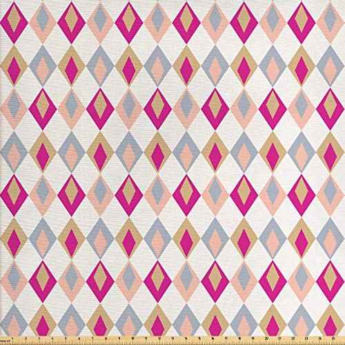 (Ambesonne Retro Fabric by The Yard, Checkered Pattern Squares in Different Soft Colors with Linked Diamond Shapes, Decorative Fabric for Upholstery and Home Accents, Pink Peach Khaki )