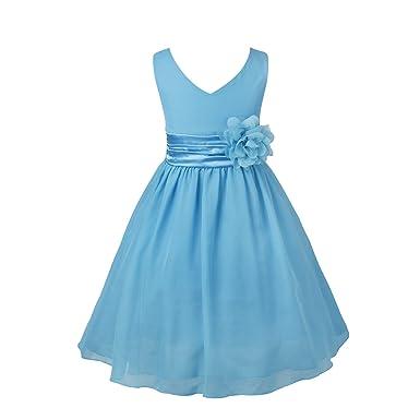 257f95ce55bf6 iEFiEL Kids Flower Girl Dress V-Neck Chiffon Wedding Bridesmaid Dress Prom  Party Ball Gown