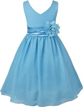 IEFIEL Vestido Largo Elegante para Niña Vestido Princesa Gasa de Flores 2-14 Años de Fiesta Vestido de Dama de Honor de Boda Vestido de Cumpleaños Ceremonias