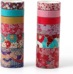Molshine 12rolls Washi Masking Tape,Adhesive Paper,Crafts Tape for DIY,Planners,Bullet Diary Decorative,Gift Wrapping,Scrapbook,Office,Party Supplies,Collection- Japanese Cherry Blossoms