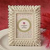 96 Ivory and Brushed Gold Leaf Design Place Card Frames / Photo Frames