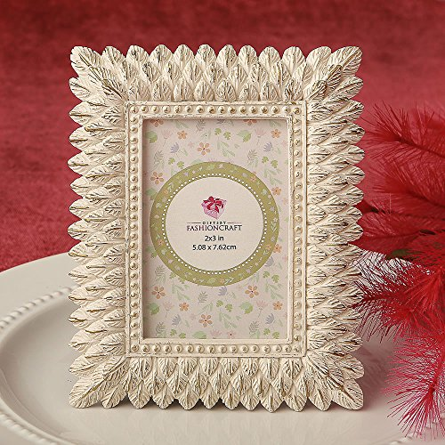 144 Ivory and Brushed Gold Leaf Design Place Card Frames / Photo Frames by Fashioncraft