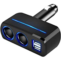 Multi Socket Auto Car Cigarette Lighter Splitter Dual USB Car Charger Adapter with 2 Socket Cigarette Lighter Adapter for iPhone 5, 6, 6 Plus, 7,iPad,Samsung Galaxy Note, HTC, Nexus and more (Black)
