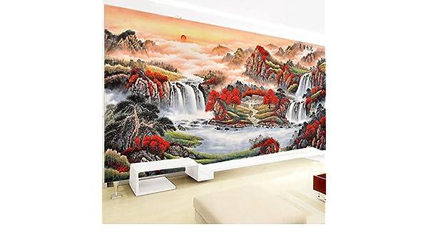 AIGUFENG Bordados buenos productos de punto de cruz hechos a mano Fortune Head Paisaje Paisaje Gran sala de estar Bordado completo Pinturas decorativas,2.3 ...