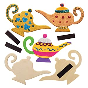 Baker Ross Wooden Magic Genie Lamp Refrigerator Magnet Kit (Pack of 10) Cut Out Paintable Crafts for Kids
