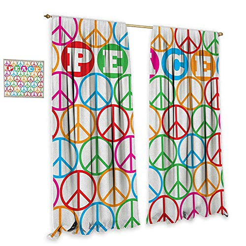 """cobeDecor Retro Light Luxury high-end Curtains Colorful Internationally Recognized Peace Symbol Sign with Letters Counter Culture Print Noise Reducing 72"""" Wx108 L Multi"""