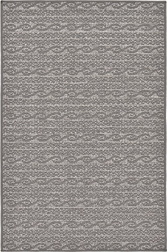 Unique Loom Outdoor Modern Collection Striped Casual Transitional Indoor and Outdoor Flatweave Gray  Area Rug (3' 3 x 5' 0) (Rug Grey Outdoor)