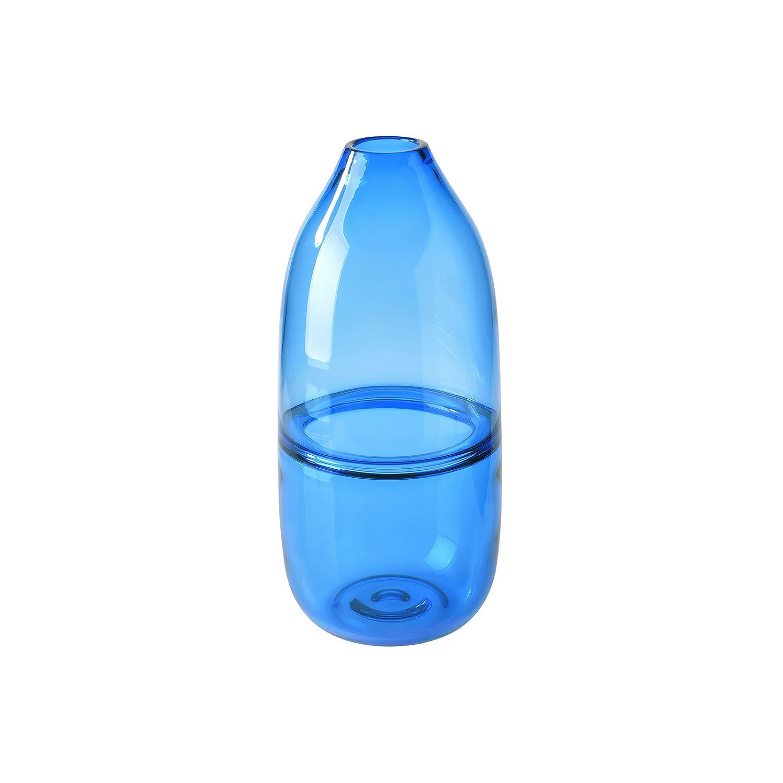 (Blue) - CASAMOTION Optic Hand Blown Solid Colour Art Glass Vase, Gift Boxed, Blue, 30cm B01N9LZZ04 ブルー ブルー