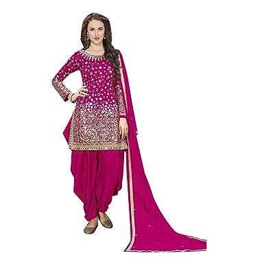 170dd2c27c Amazon.com: Ethnic Designer Silk Pink Patiala suit Mirror work Salwar  Kameez Indian Punjabi Festival 7111: Clothing