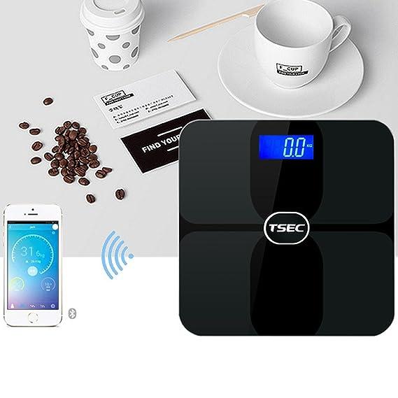 Naisidier Báscula Digital Bluetooth 180kg Baño Báscula Electrónica de Grasa Corporal LCD Aplicación IOS Android Negro: Amazon.es: Hogar