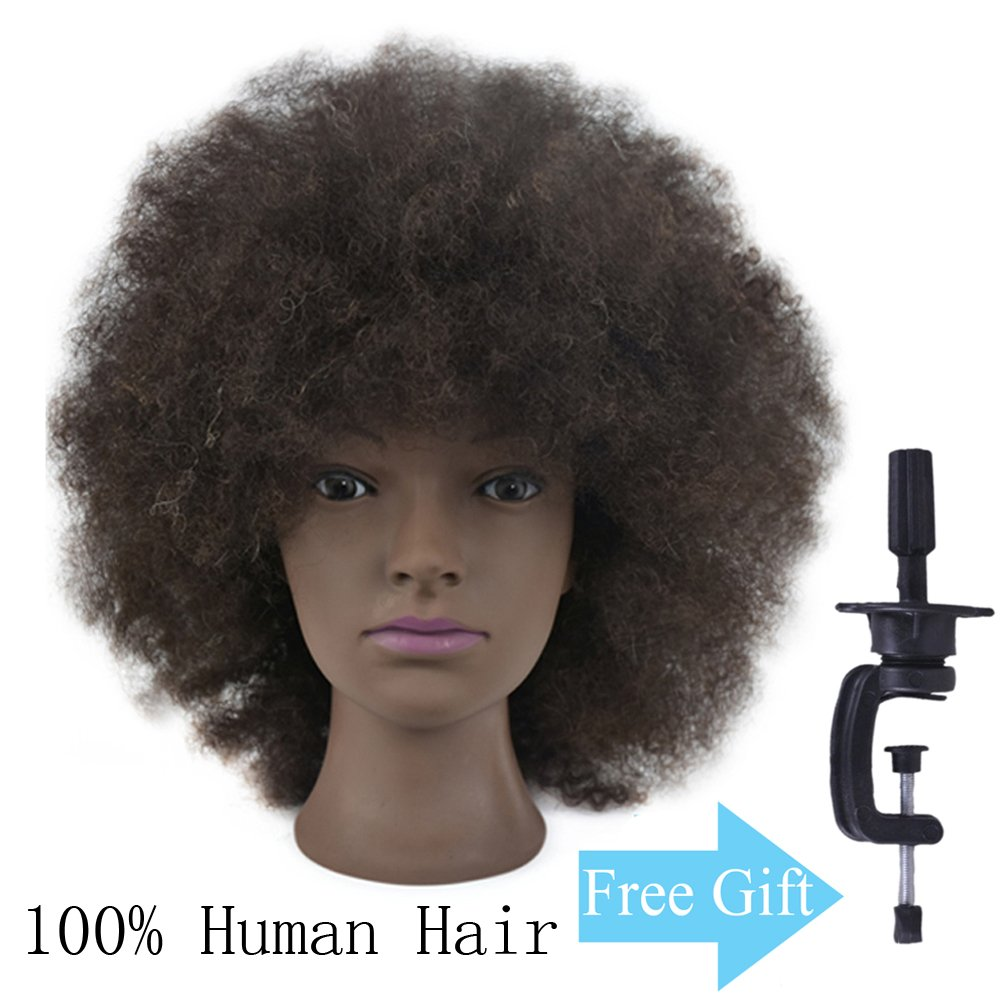 Mannequin Head African American with 100% Human Hair Training Head Cosmetology Afro Hair Manikin Head Hair Styling Doll Head with Free Clamp Ba Sha