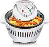 Large Digital Halogen Convection Oven Cooker 12L with Lid Air Fryer Accessories Glass Bowl Timer Electric 6 in 1 Halogen Convection Oven for Baking Grill (White)