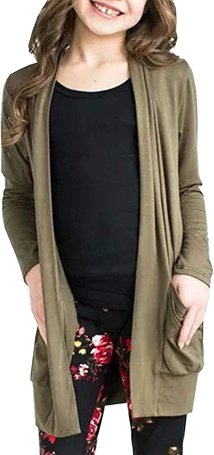 Geckatte Toddler Girls Boyfriend Cardigan Open Front Casual Long Sleeve Outerwear with Pockets: Clothing