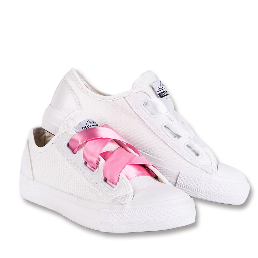Canvas - Wide Lace White Lantina Women's Low Top Fashion Sneakers